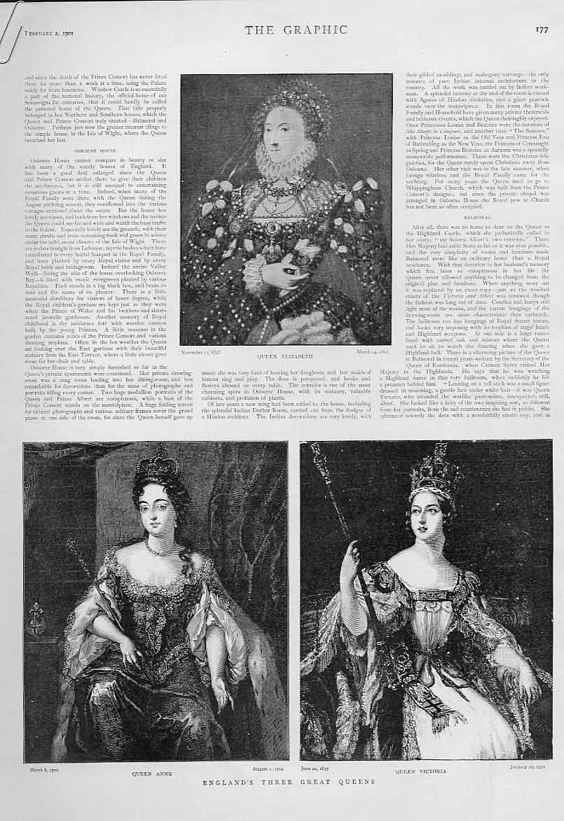 [Print England'S Three Great Queens And Faroyal Family Treee 1 77Abbb0 Old Original]