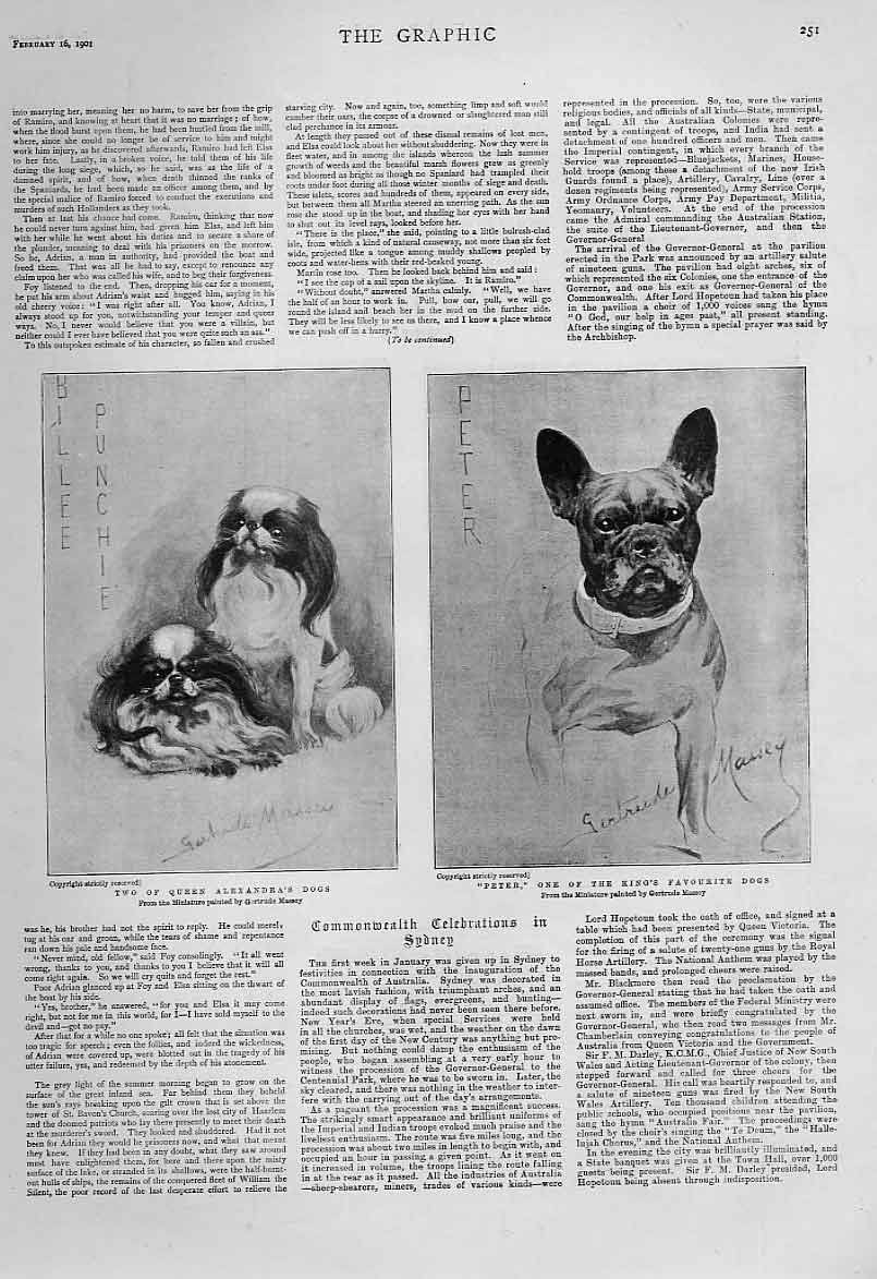 Print King & Queens Favourite Dogs 1901 51Bbb0 Old Original