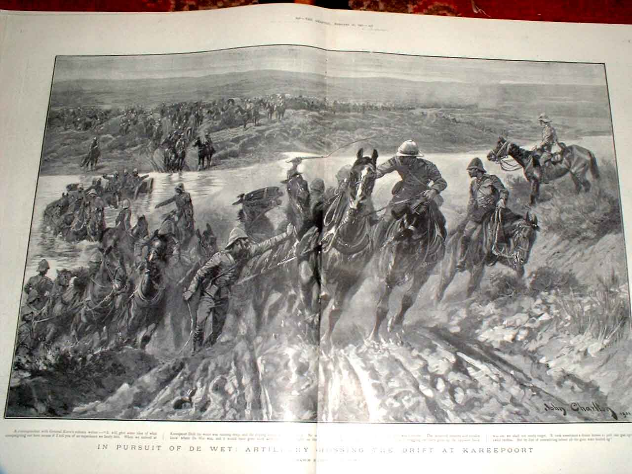 Print After De Wet Crossing Drift At Kareepoort 1901 Boer War 55Tbbb0 Old Original