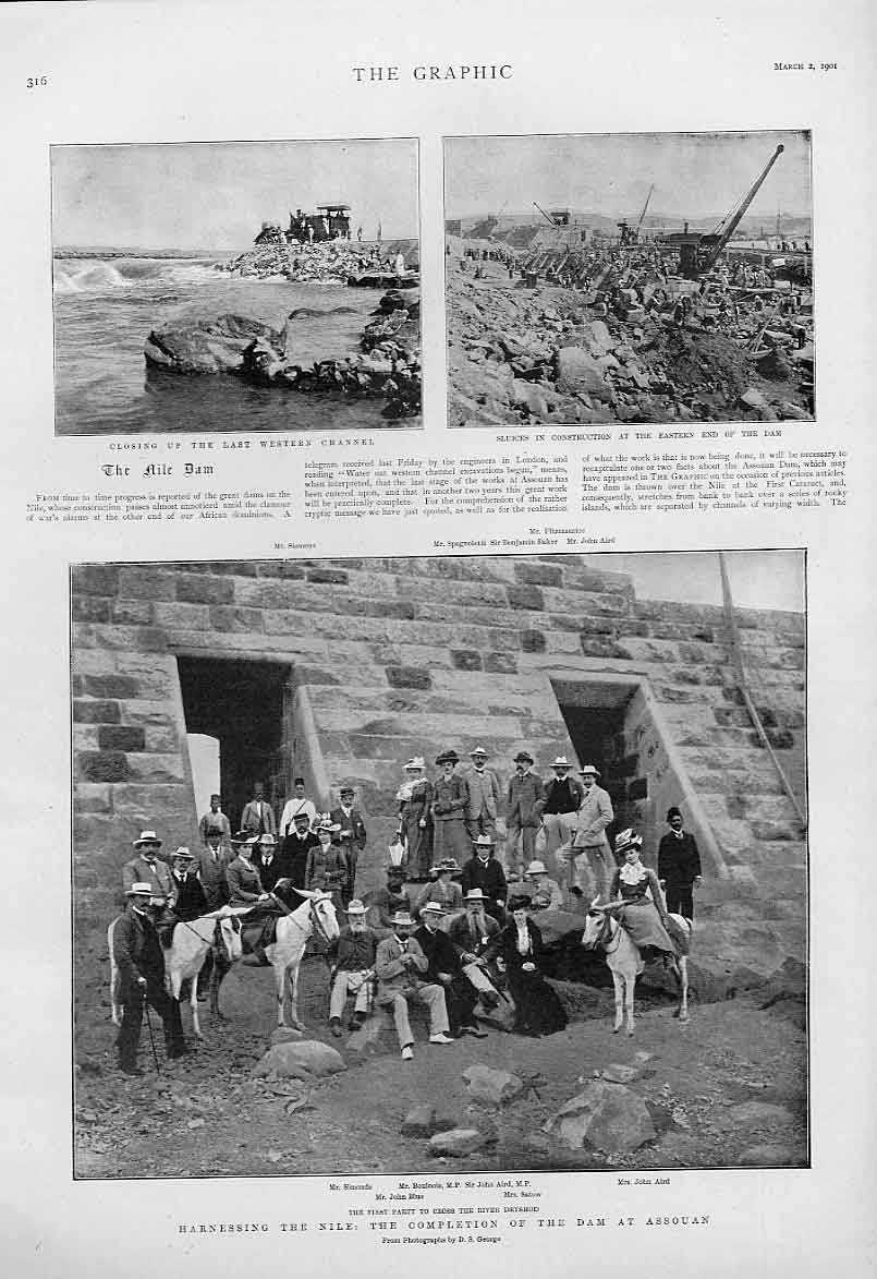 Print Completion Assouan Dam On Nile Egypt 16Bbb0 Old Original
