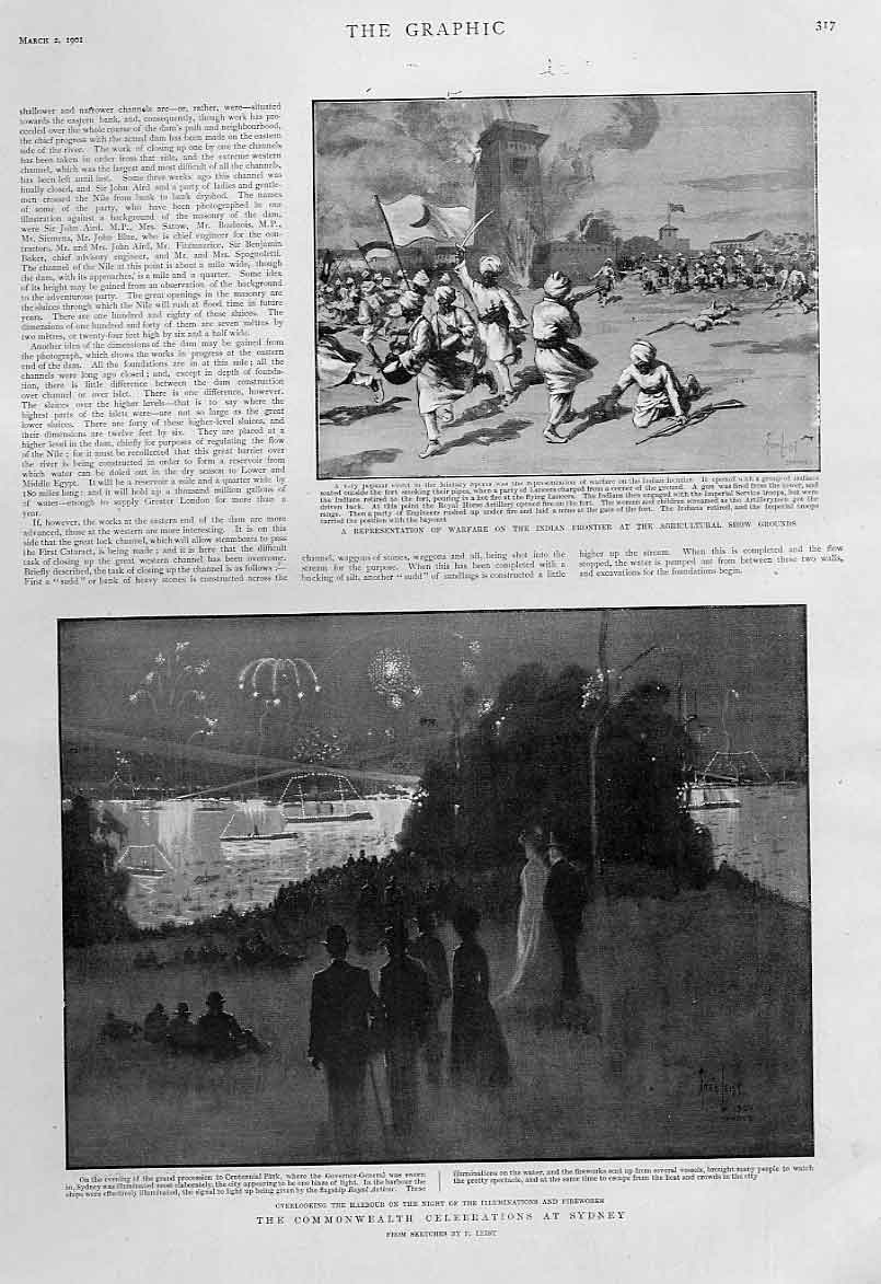 Print Sidney Harbour Commonwealth Celebrations Australia 1901 17Bbb0 Old Original