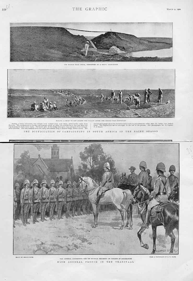 Print Rainy Season & Gen French In Transvaal 1901 51Lbbb0 Old Original