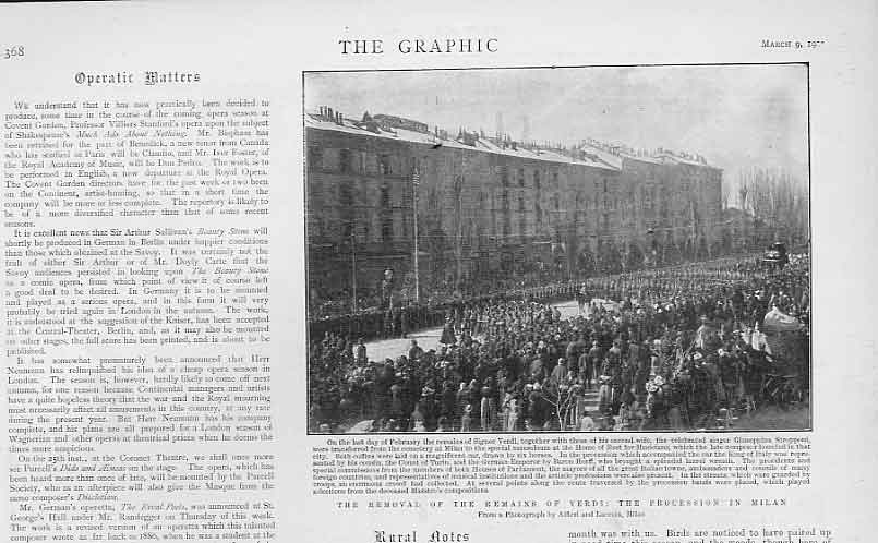 Print Milan Procession Removal Remains Verdi 1901 Italy 68Bbb0 Old Original