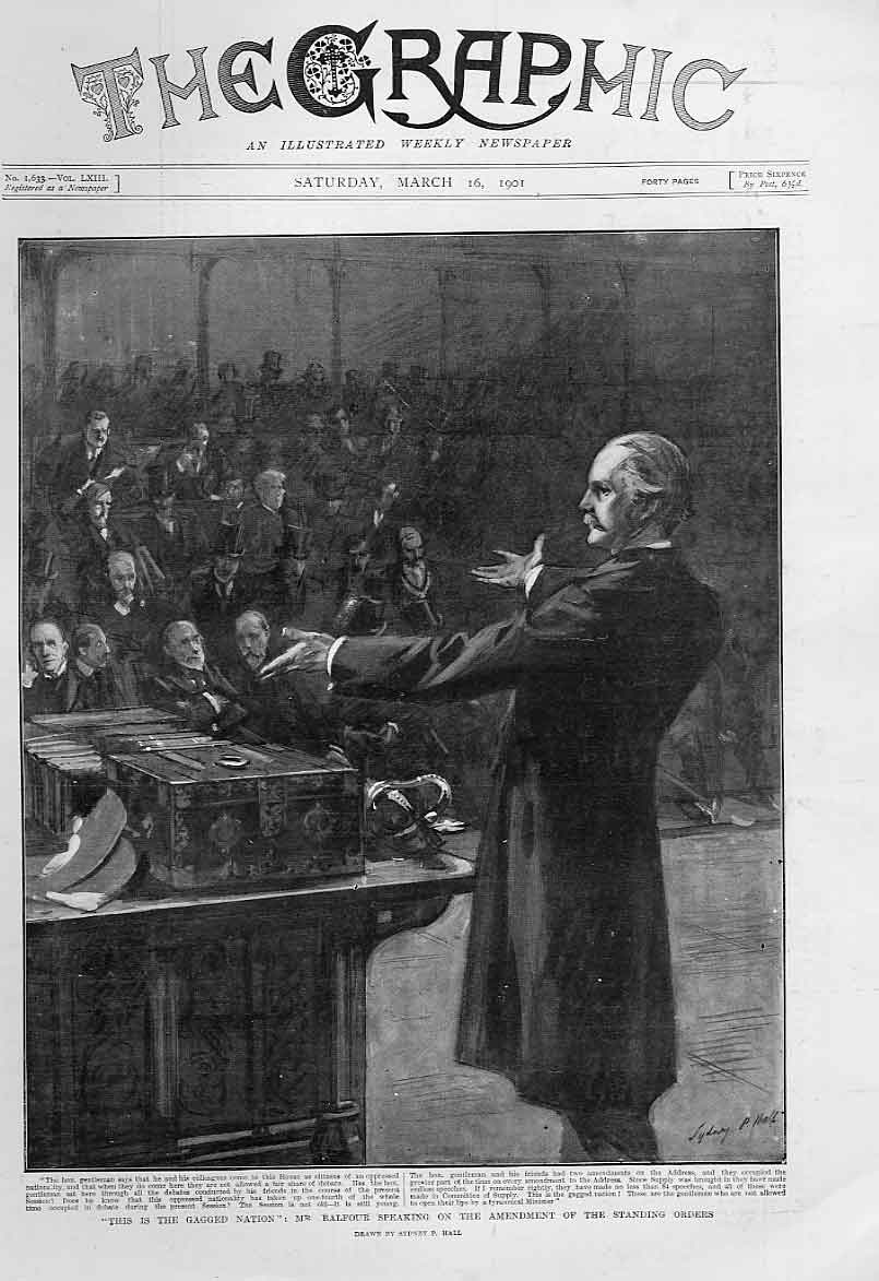 Print Balfour Speaking In House 1901 74Bbb0 Old Original
