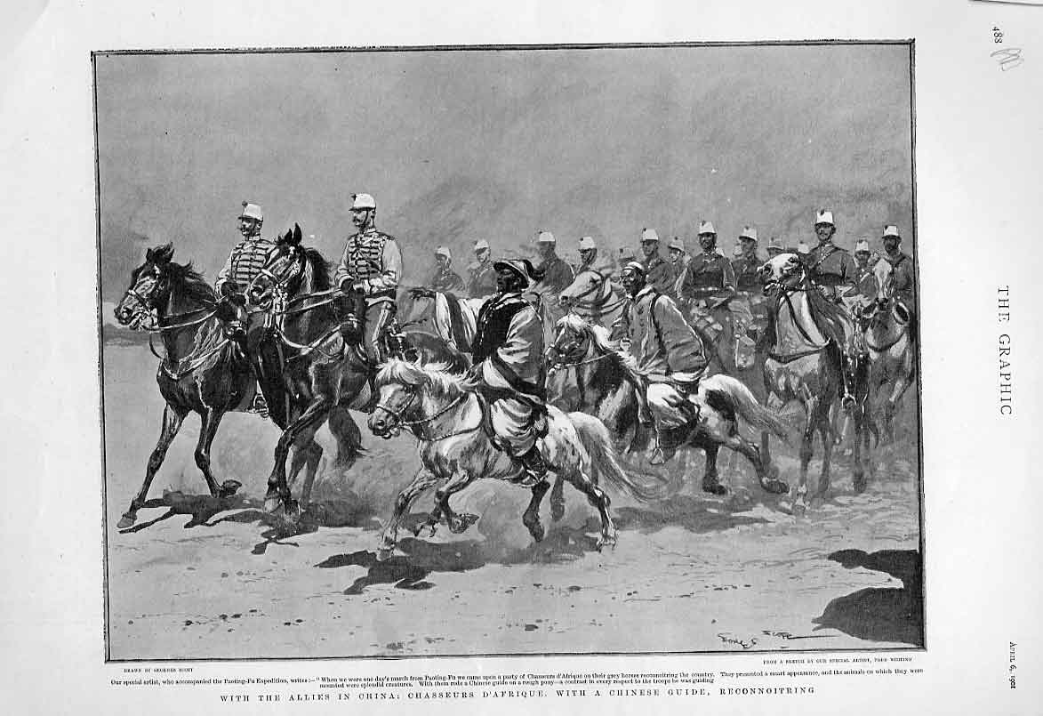 Print French Chasseurs D'Afrique In China 1901 88Abbb0 Old Original