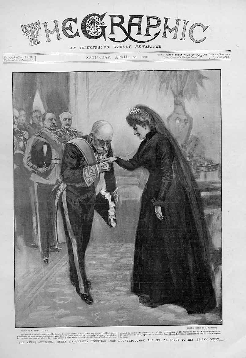 [Print Queen Margherita Italy At The Italian Court 1901 42Bbb0 Old Original]