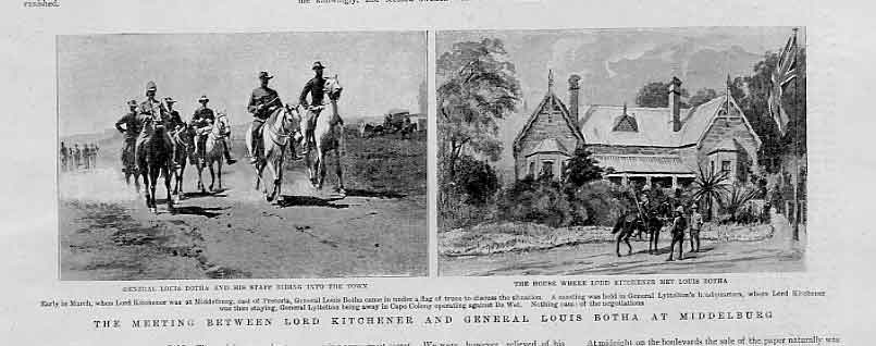 Print Meeting Lord Kitchener & Louis Botha At Middleburg 1901 51Bbb0 Old Original