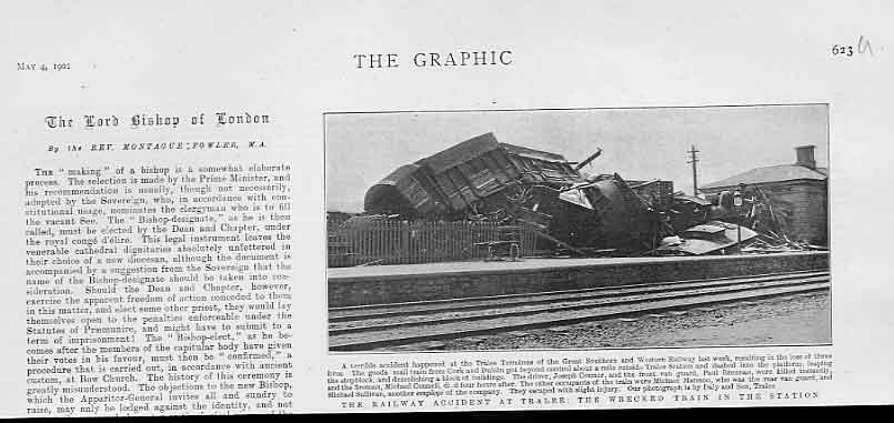 Print Rail Accicdent Tralee Station 1901 Ireland 23Ubbb0 Old Original