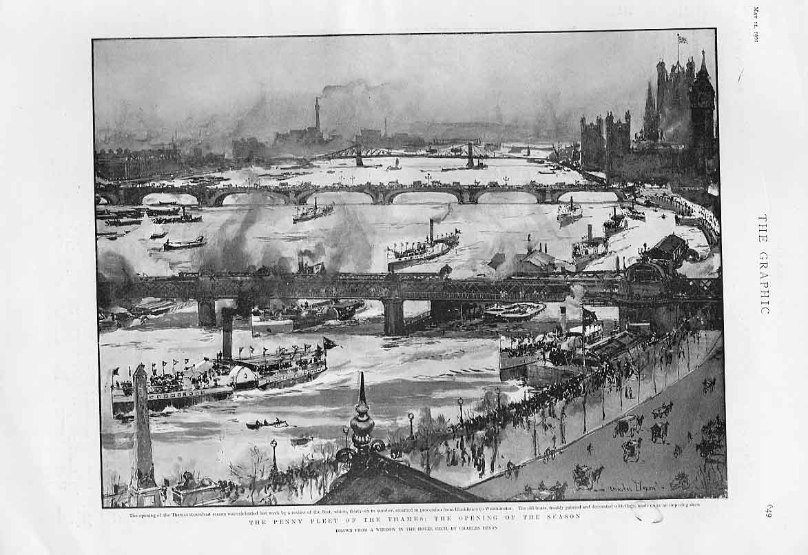 Print The Penny Fleet The Thames 1901 Ships 49Bbb0 Old Original