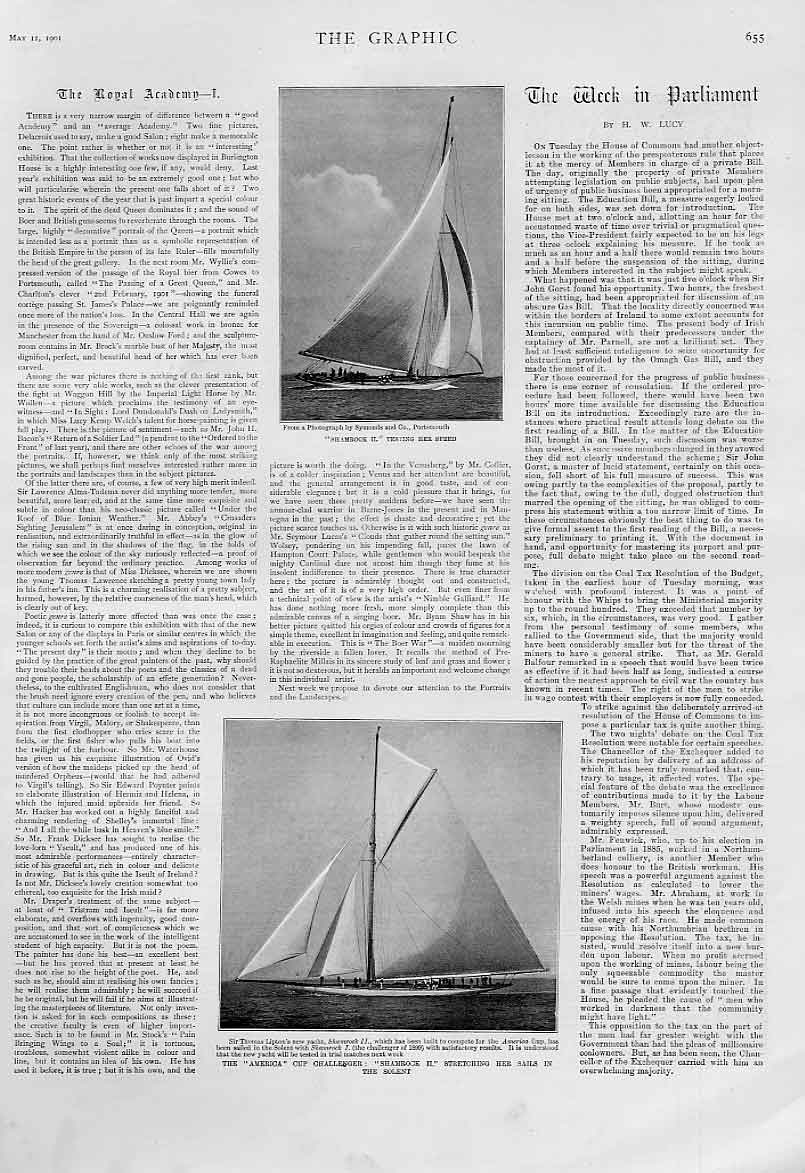 Print Shamrock Ii The America Cup Challenger 1901 55Bbb0 Old Original
