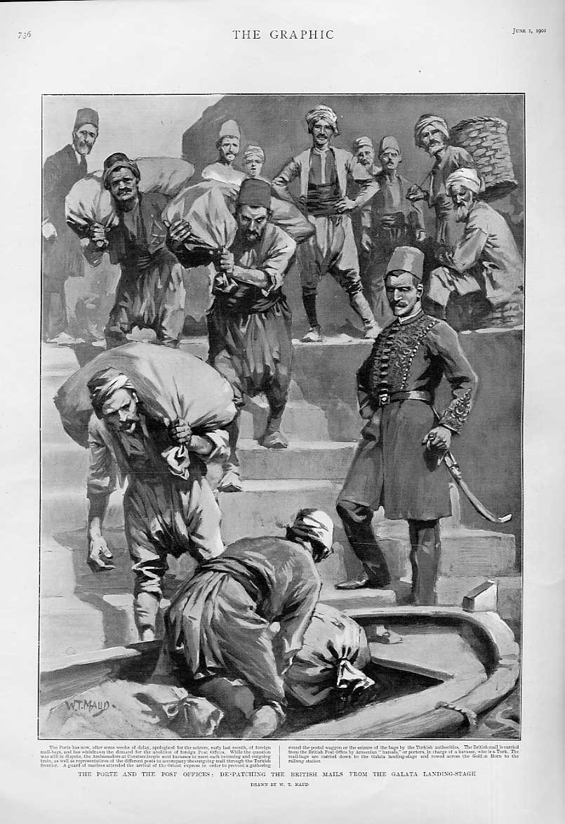 Print Guarding British Mail From The Turks At Galata 1901 36Bbb0 Old Original