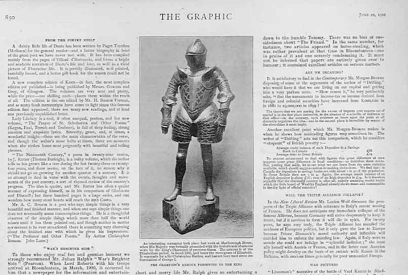 Print Champions Armour Presented To King 1901 50Bbb0 Old Original