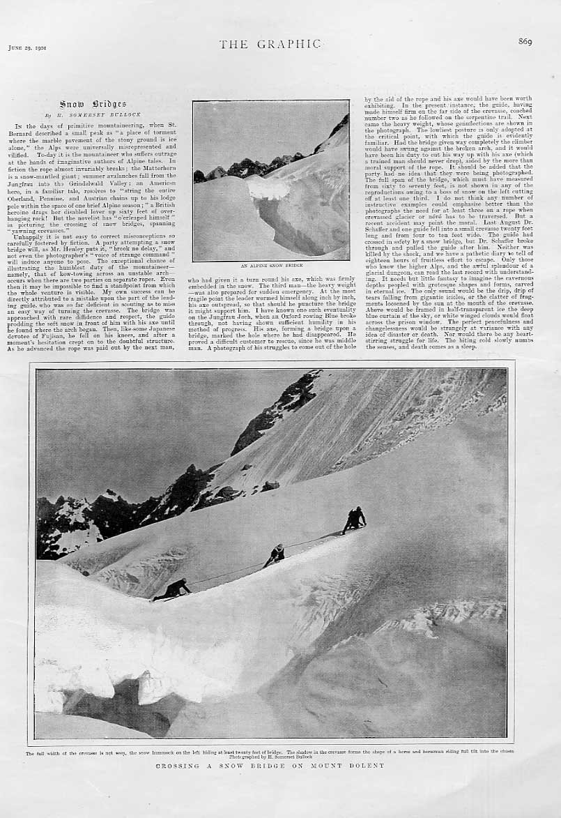 Print Crossing Snow Bridge On Mount Dolent Alps 69Bbb0 Old Original