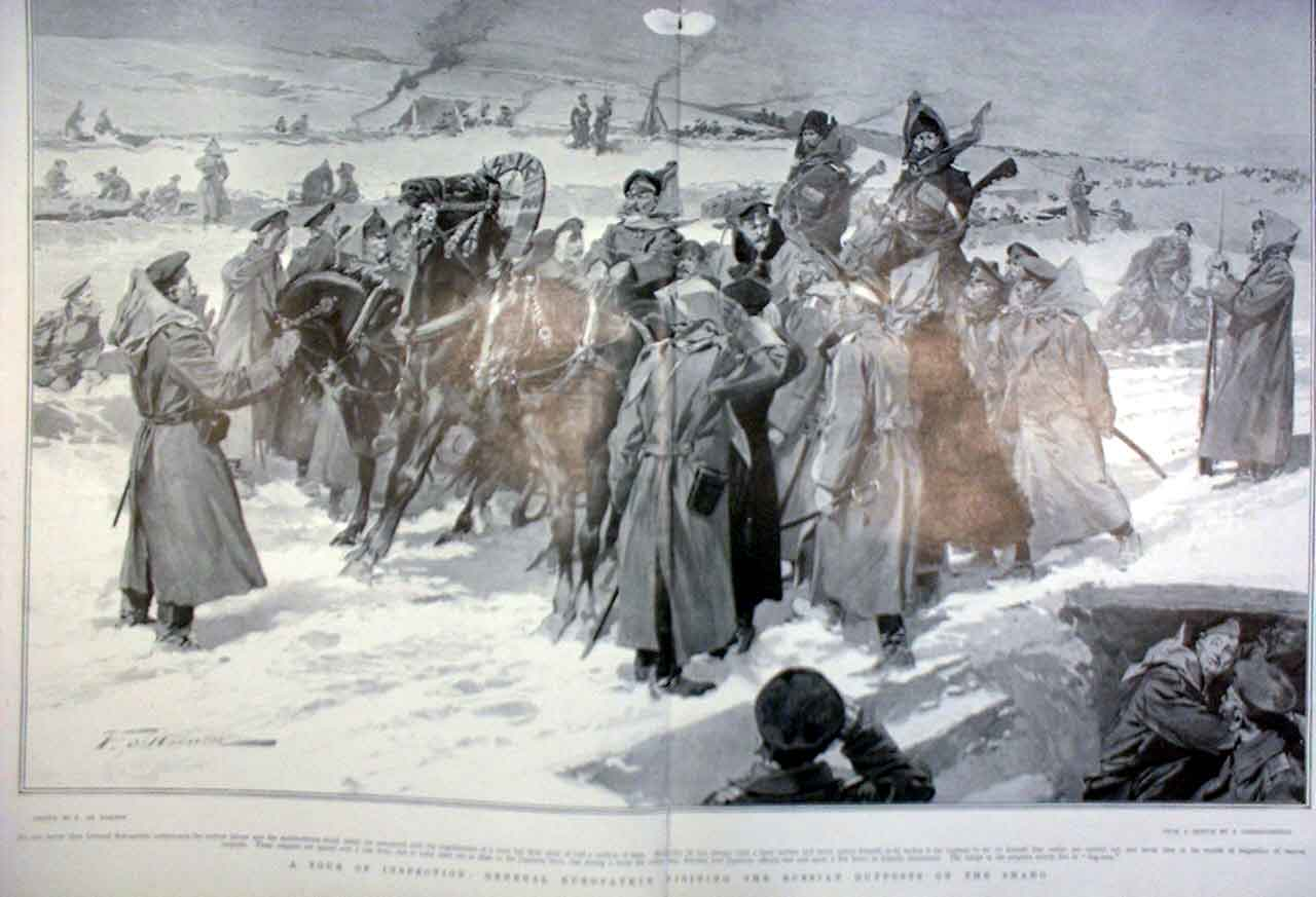 Print Gen Kuropatkin At Russian Outpost On Shaho 1905 47Tbbb0 Old Original