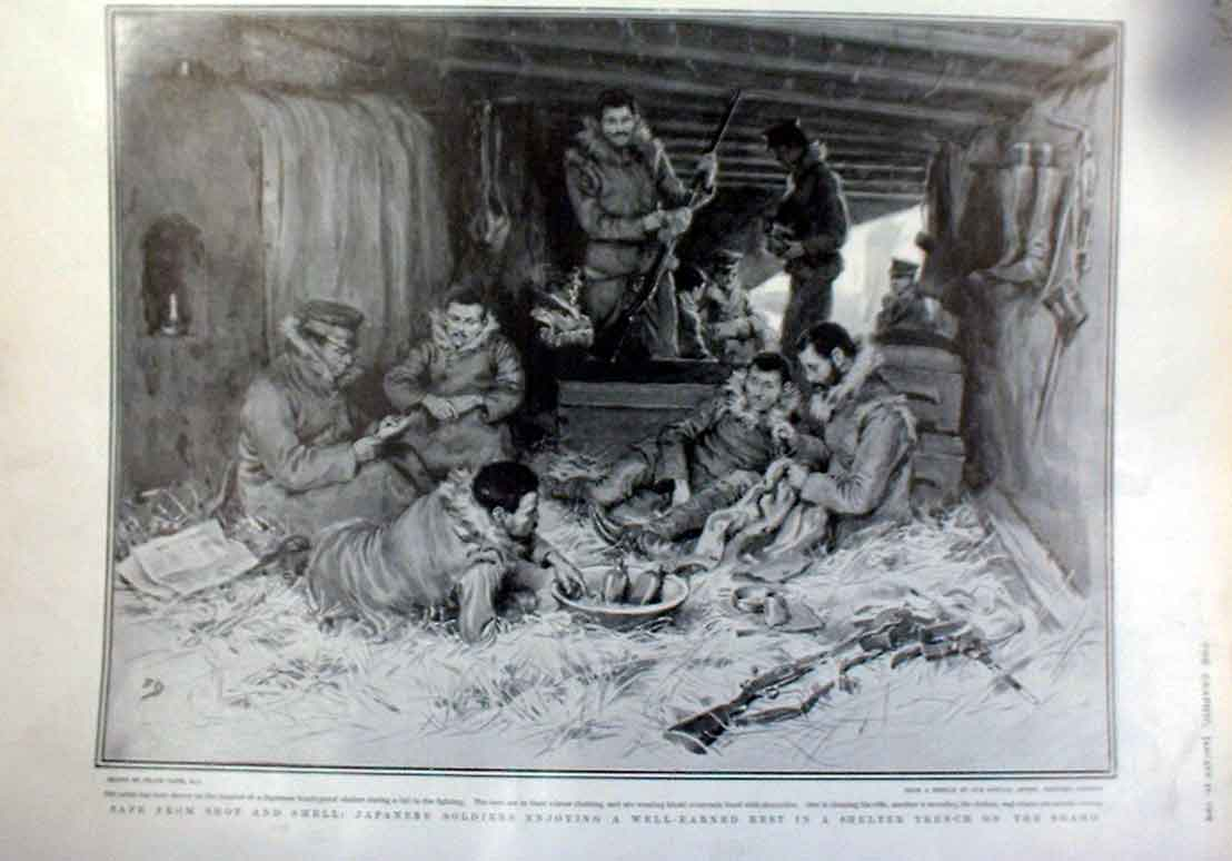 Print Japanes Soldiers Safe In Shelter On The Ship Shaho 76Abbb0 Old Original