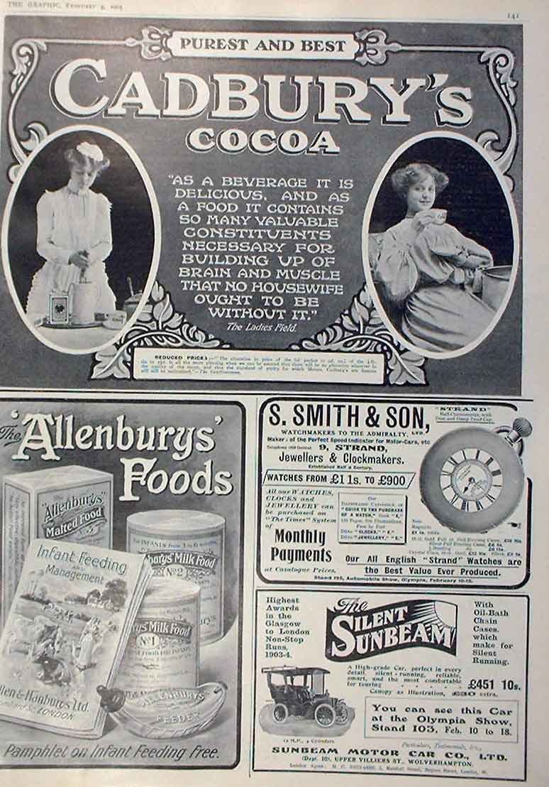 Print Cadburys Cocoa Smith Watches Sunbeam Car 1905 Adverts 41Bbb0 Old Original