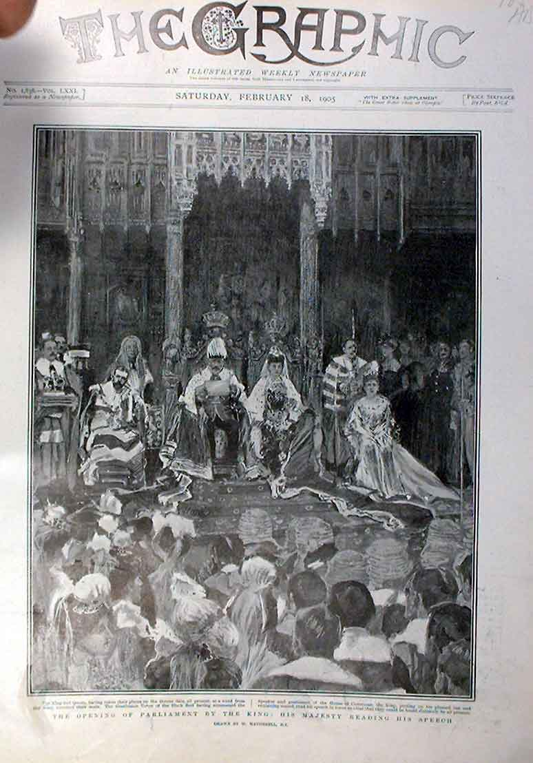 Print King Edward Opens Parliament 1905 85Abbb0 Old Original