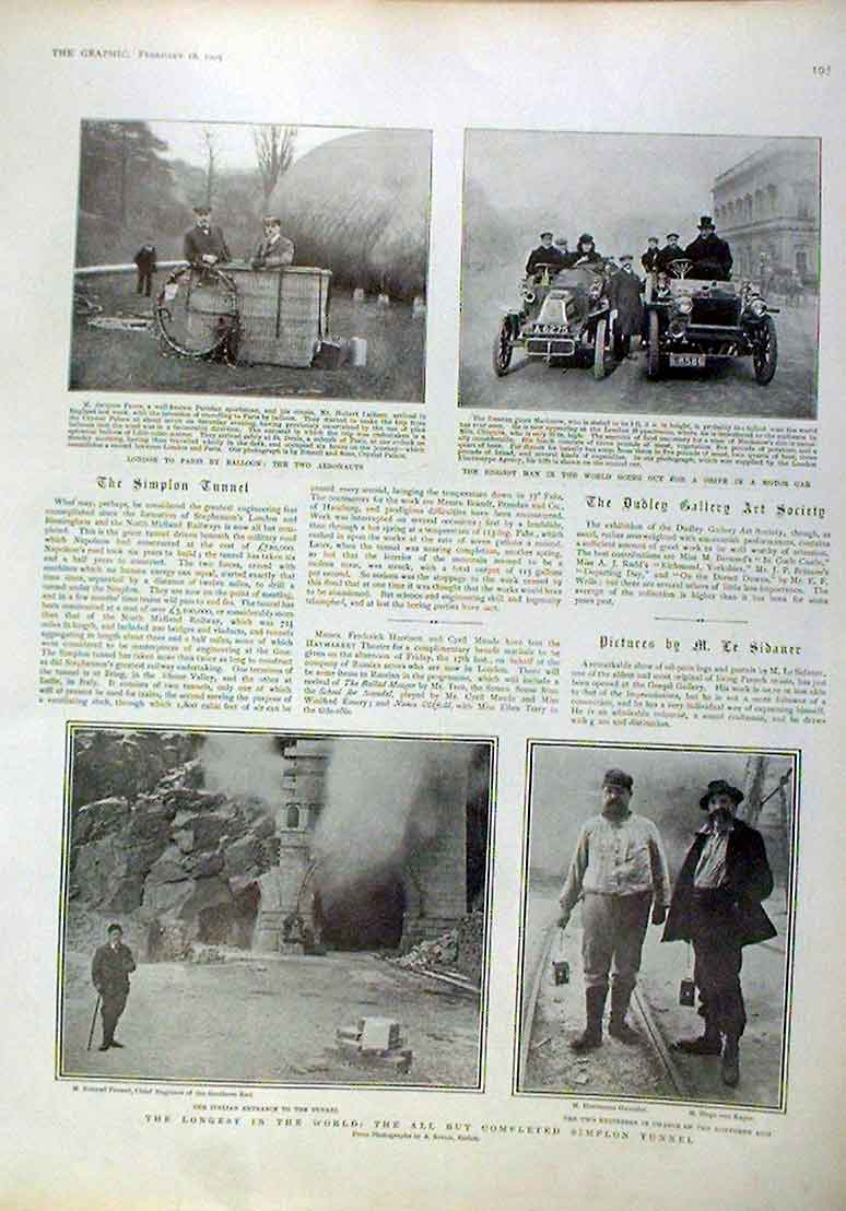 Print By Balloon To Paris Drive Ia A Motor Car 1905 95Bbb0 Old Original
