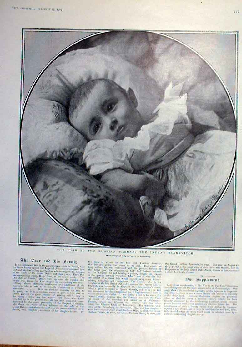 Print Infant Tsarevitch Heir To Russian Throne 1905 27Bbb0 Old Original