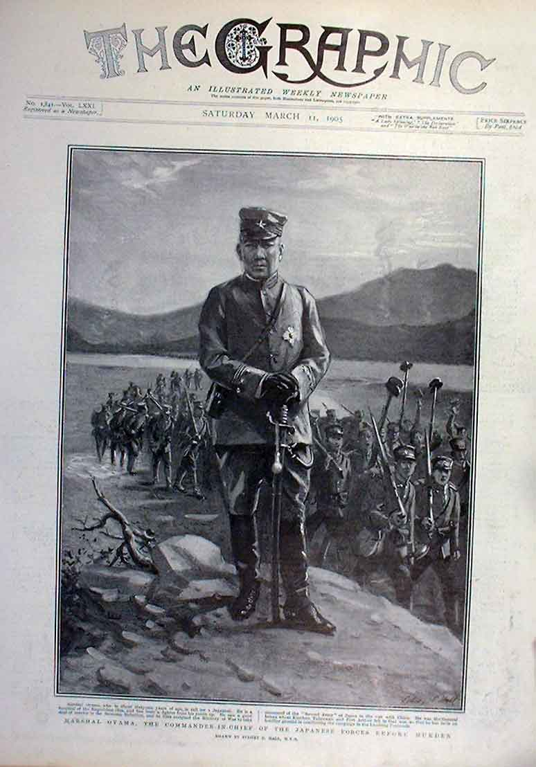 Print Marshal Oyama Cic Japanese Forces Before Mukden 1905 74Bbb0 Old Original