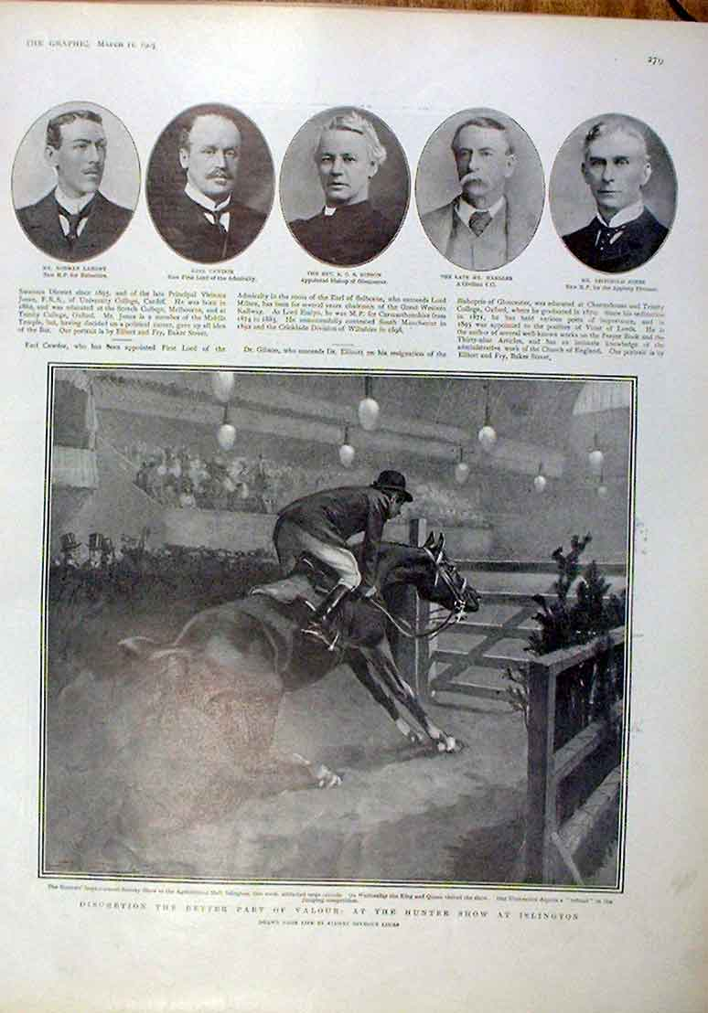 Print Heading For A Fall At Hunter Show 1905 Horses 79Bbb0 Old Original