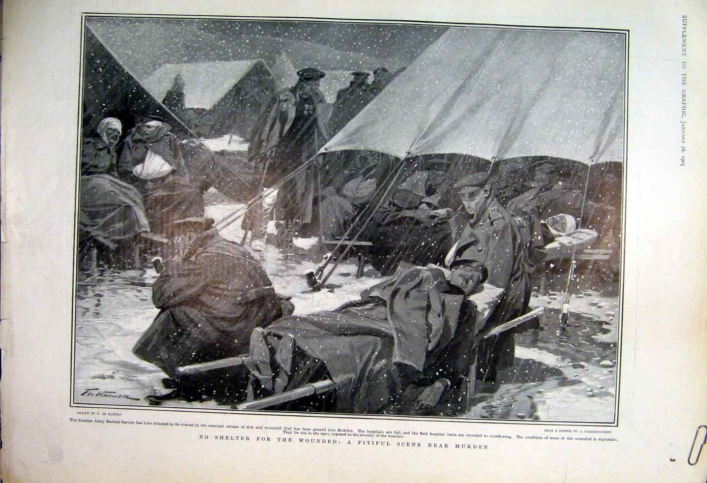 Print Captured Two Japanese Prisoners In Russian Camp 1905 08Abbb0 Old Original