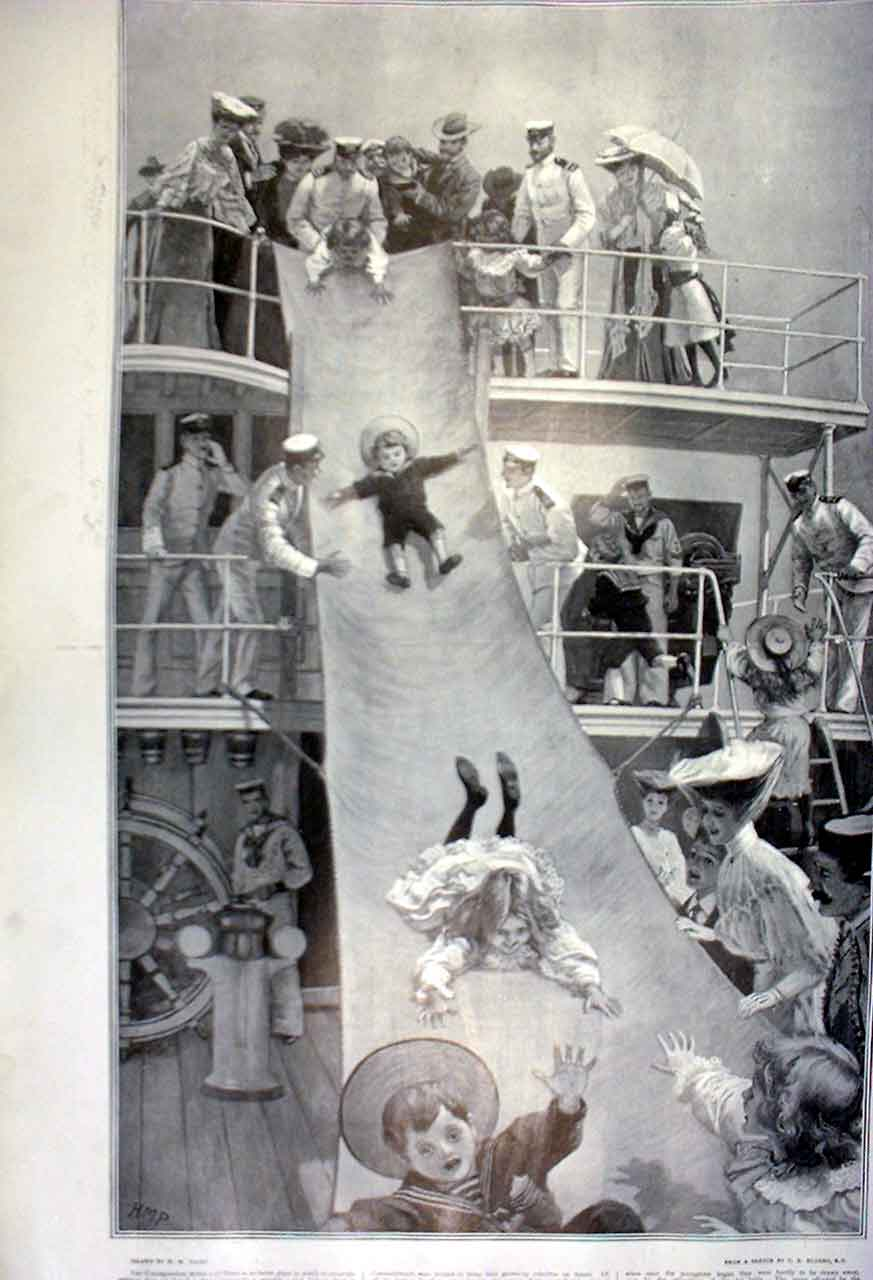 Print Childrens Party On Board Navy Ship 1905 11Tbbb0 Old Original