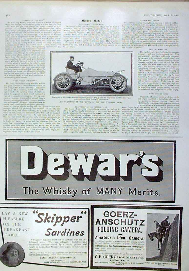 Print Bianchi At Wheel Wolseley Race Car 1905 22Bbb0 Old Original