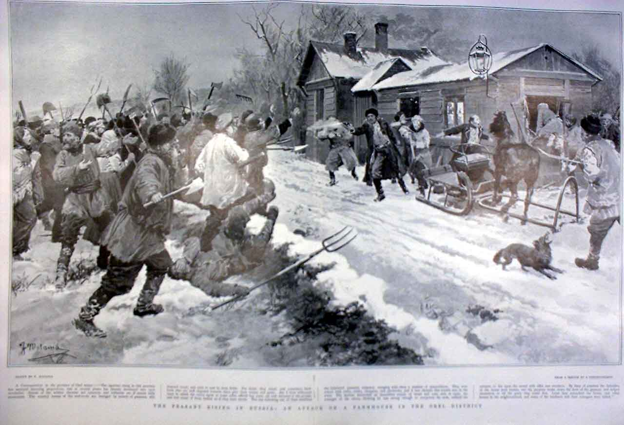 Print Peasant Uprising Russia 1905 Attack On Farmhouse 43Tbbb0 Old Original