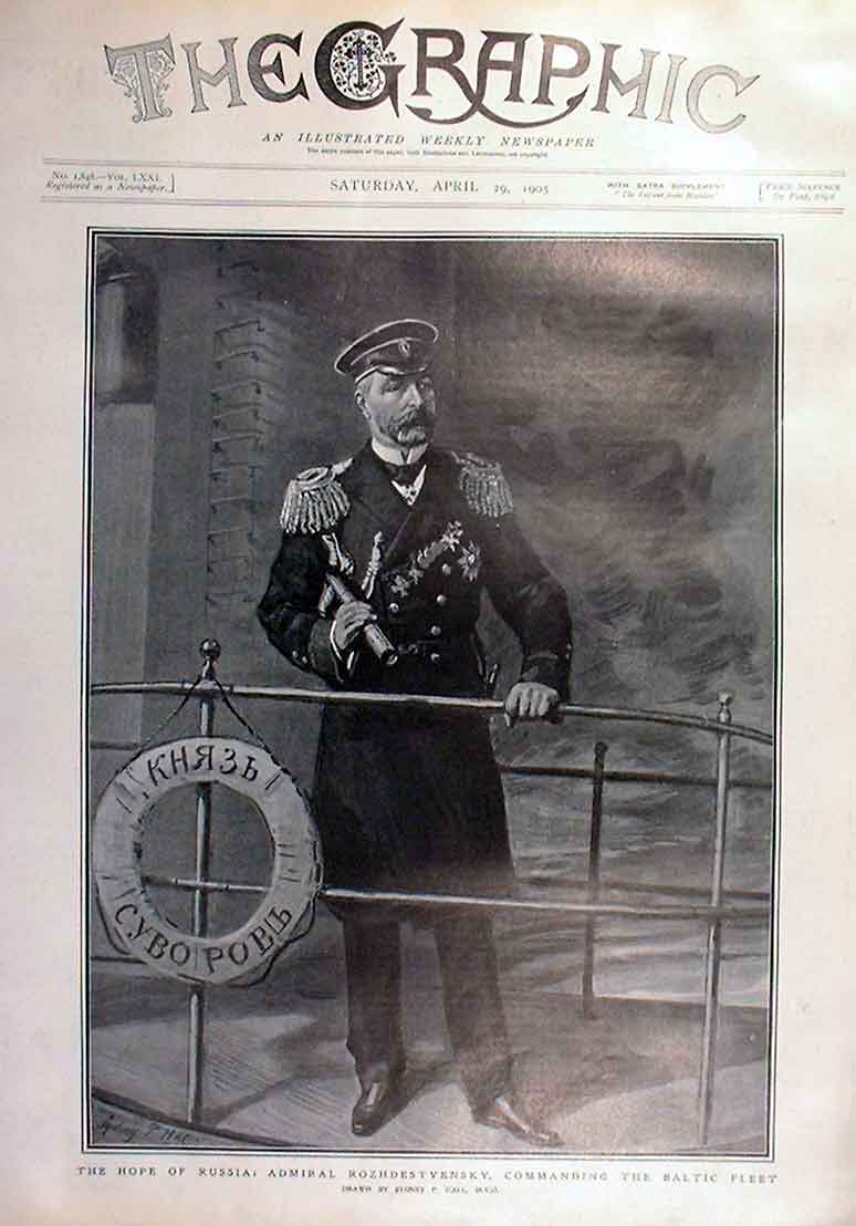 Print Hope Russia Admiral Rozhdestvensky Cic Baltic Fleet 92Bbb0 Old Original