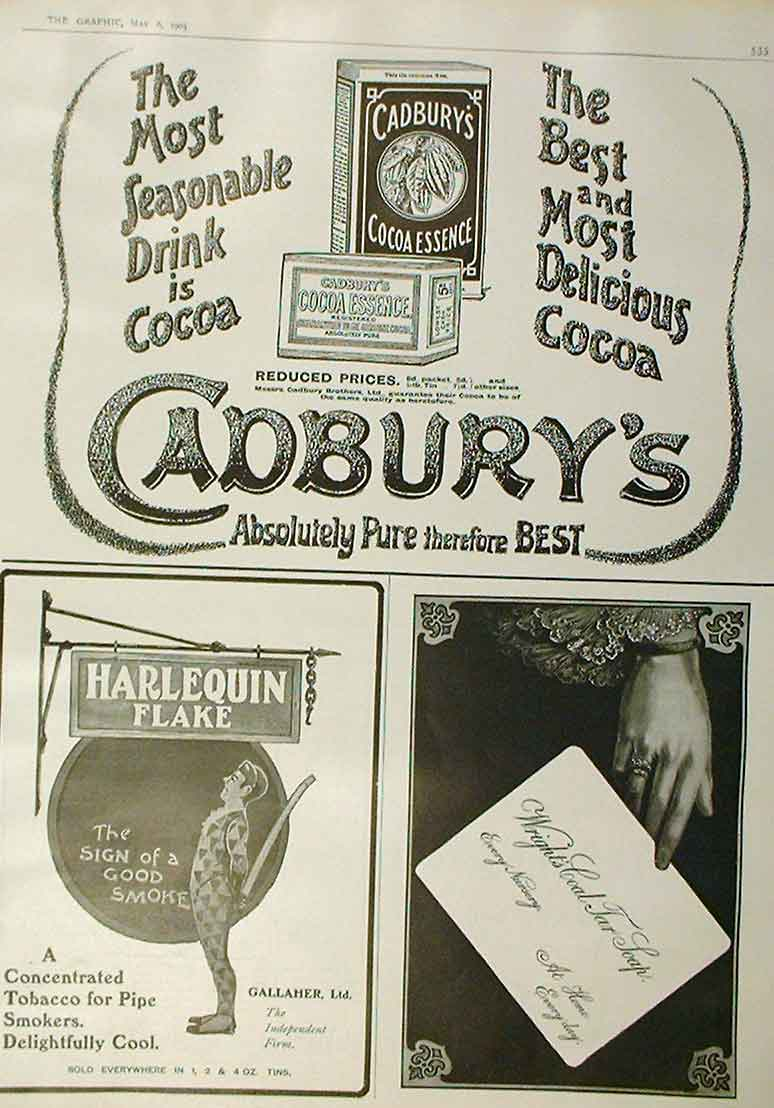 Print Cadbury Cocoa 1905 Advert Harlequin Flake Tobacco 35Bbb0 Old Original