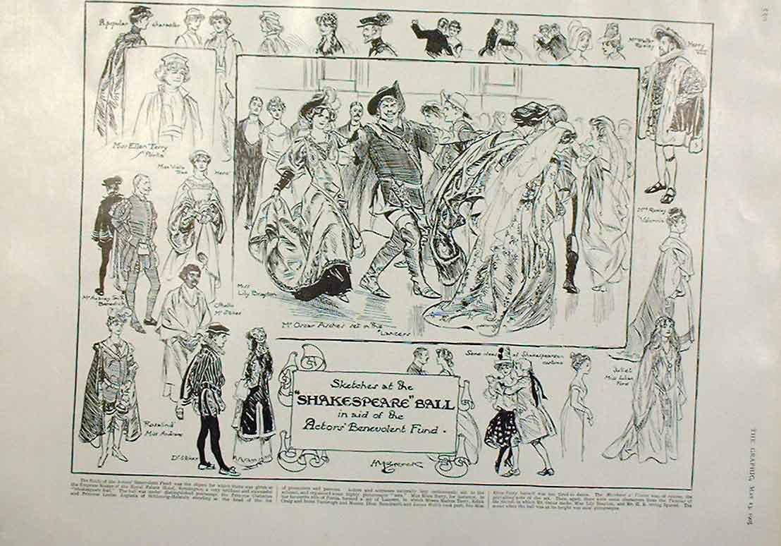 Print Shakespear Ball In Aid Actors Benevolent Fund 1905 50Bbb0 Old Original