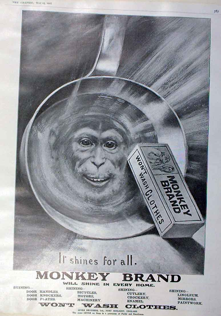 Print Monkey Brand Soap 1905 Advert It Shines For All 67Bbb0 Old Original