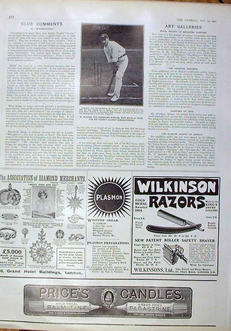Print W Rhodes Yorkshire Bowler 201 Not Out 1905 Cricket 72Bbb0 Old Original