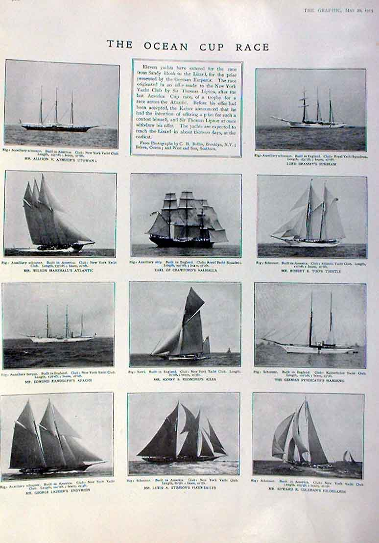 Print The Ocean Cup Race 1905 Yachts Sailing 80Bbb0 Old Original