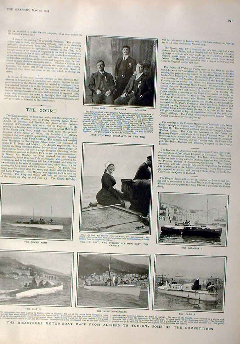 Print Motor Boat Race Algiers To Toulon 1905 Disaster 91Bbb0 Old Original