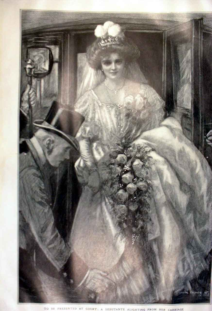 Print Debutante Alighting From Carriage 1905 05Tbbb0 Old Original