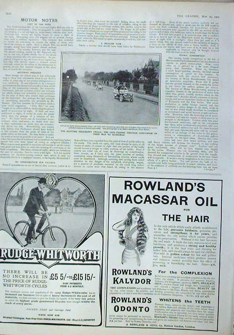 Print Scottish Reliability Trials 1905 Cars On Way 06Bbb0 Old Original