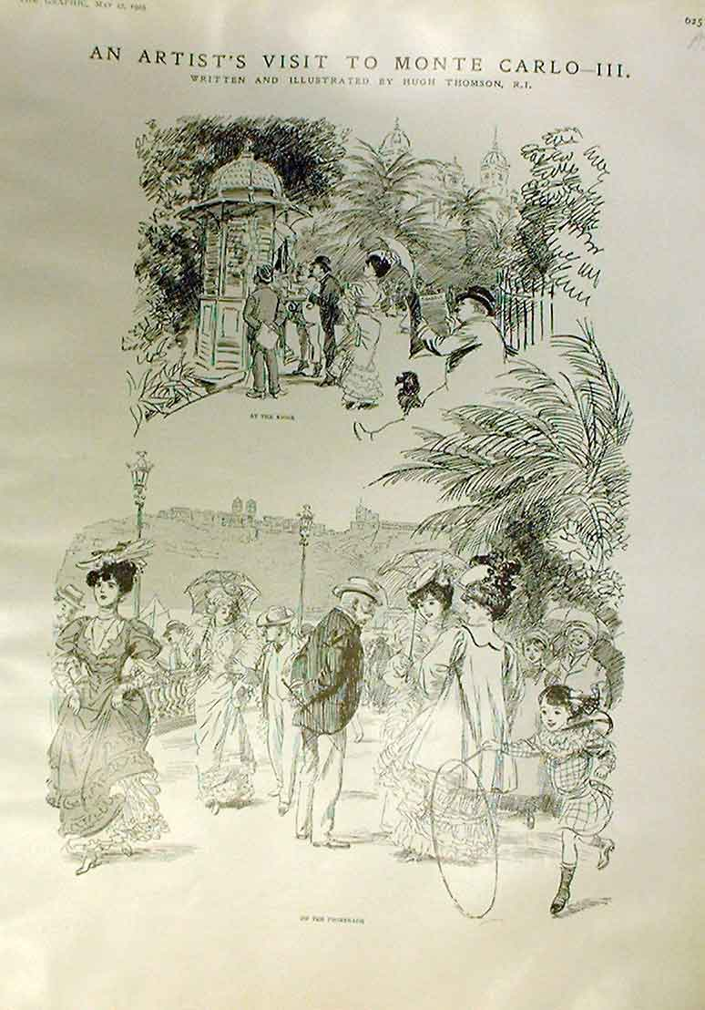 Print Artist Vist To Monte Carlo *3 1905 France 25Abbb0 Old Original