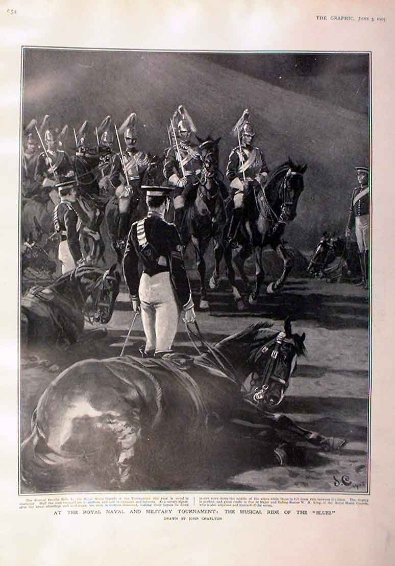 Print Musical Ride The Blues 1905 Military Tournamen 54Bbb0 Old Original