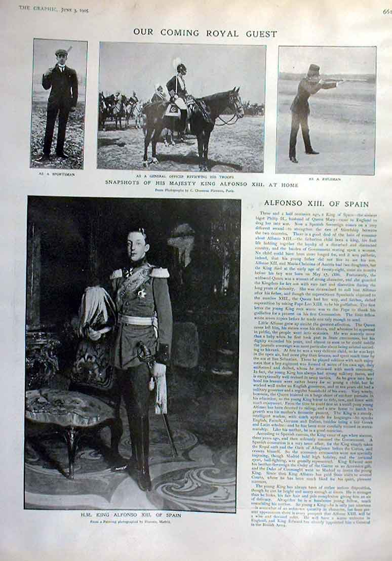 Print Portrait King Alfonso Xiii Spain 1905 61Bbb0 Old Original