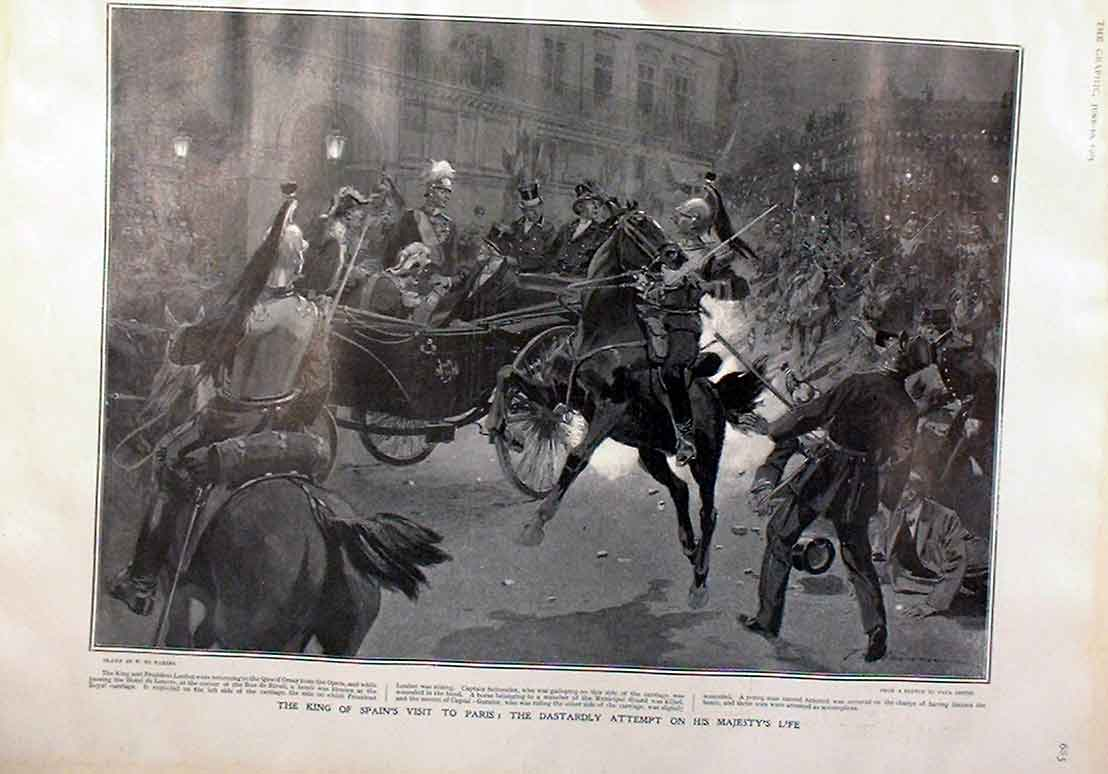 Print Attempt On King Spain'S Life Paris 1905 85Bbb0 Old Original