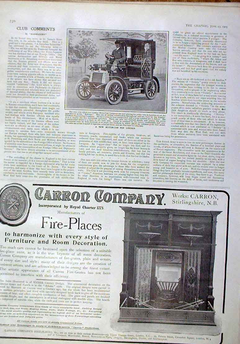 Print New Motor Cab For London 1905 Cars 30Bbb0 Old Original