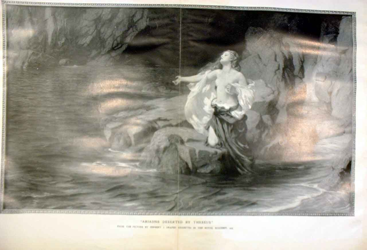 Print Adriane Deserted By Theseus By Draper Fine Art 1905 Pri 01Tbbb0 Old Original
