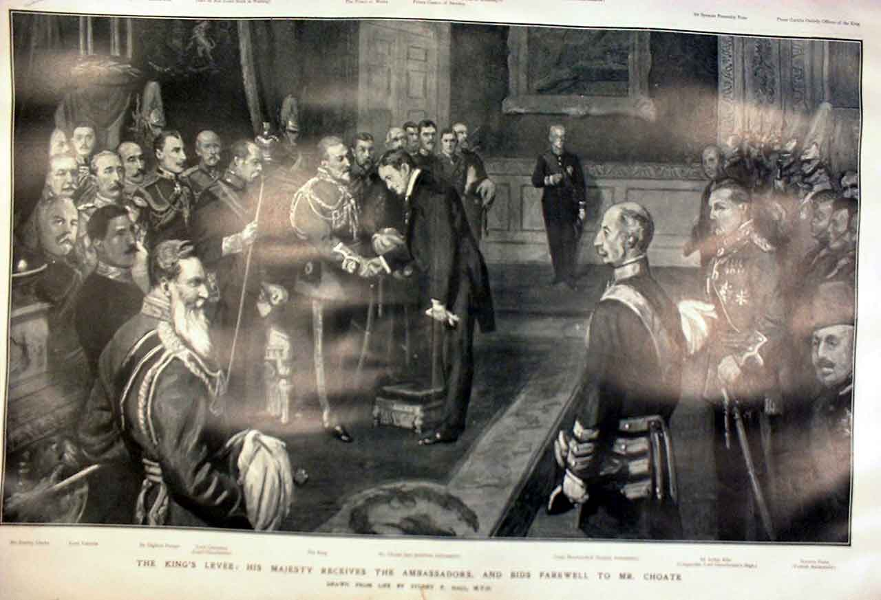 Print King Edward'S Levee Farewell To Mr Choate 1905 03Tbbb0 Old Original
