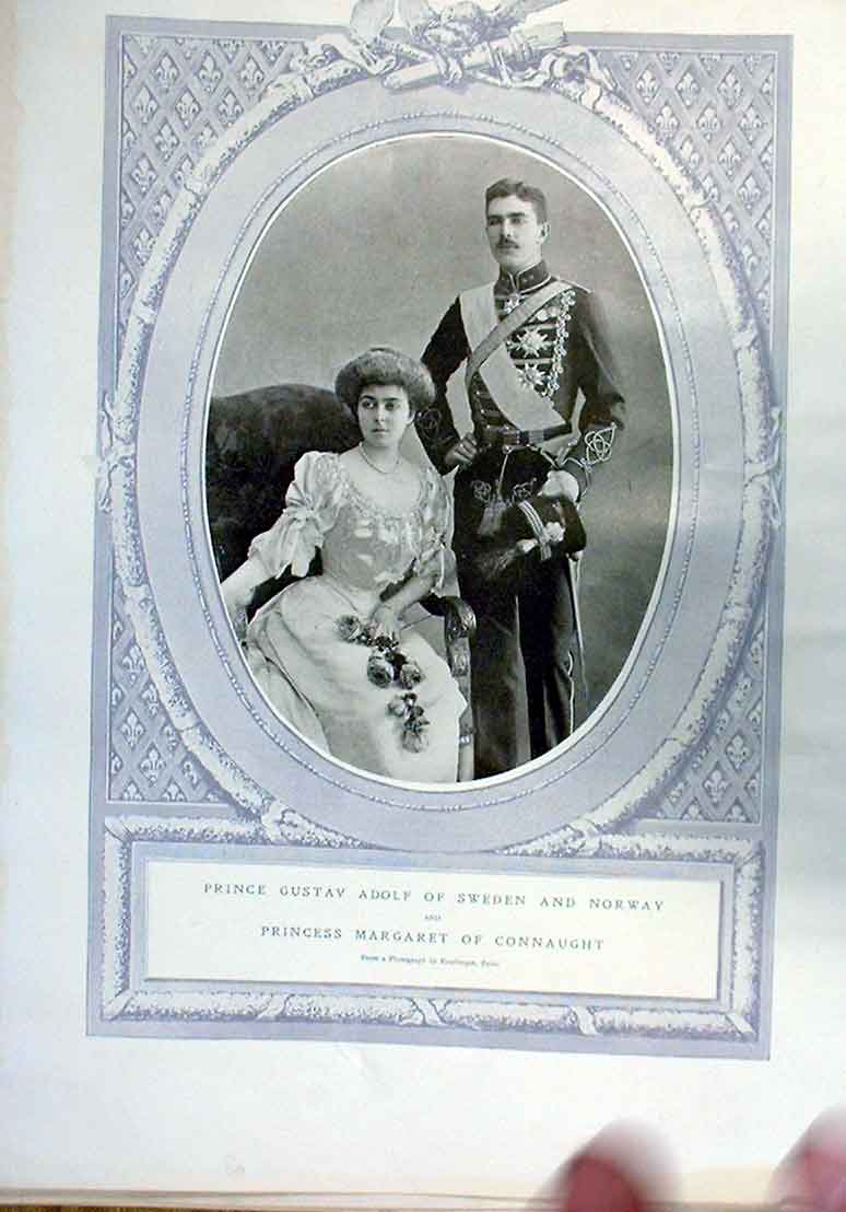Print Prince Gustav Adolf Sweden & Norway 28Bbb0 Old Original