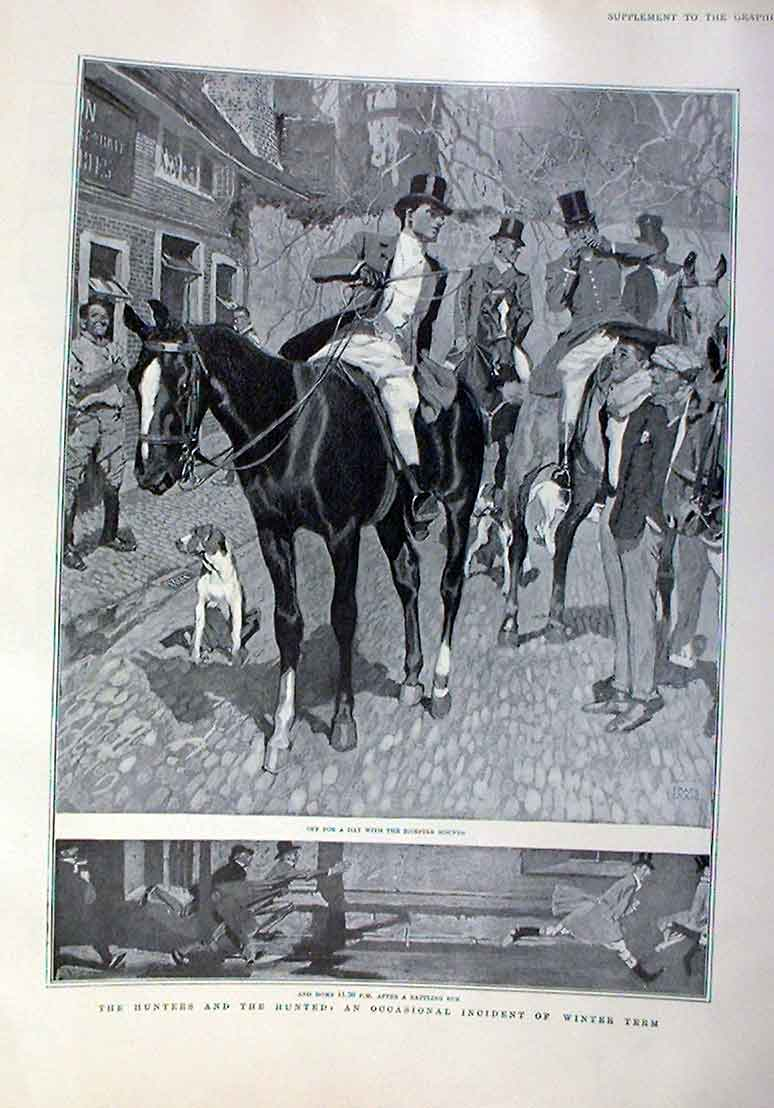 Print Fox Hunters & The Hunted Bicester Hounds 1905 52Bbb0 Old Original
