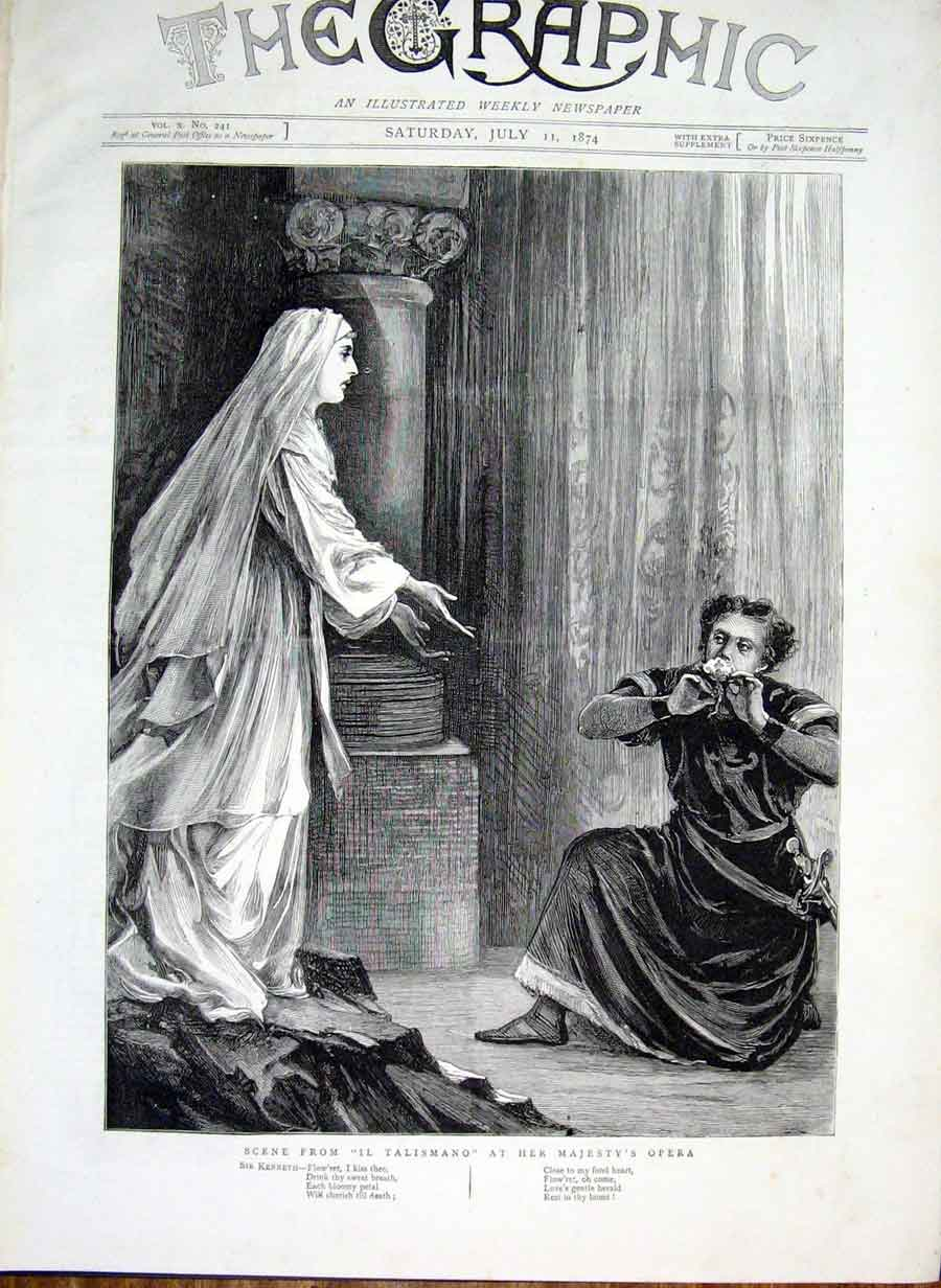 Print Scene From Il Talismano At Her Majesty'S Opera 1874 26Bbb1 Old Original