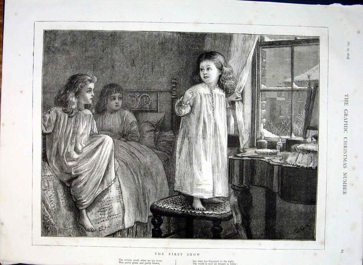 Print A Girls First Snow 1874 Fine Art 29Cbbb1 Old Original