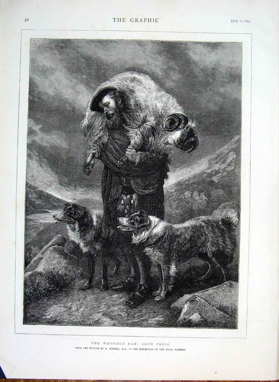 Print Wounded Ram: Loch Freig By Andsell 1874 32Bbb1 Old Original
